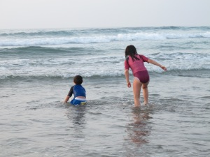 My children enjoying the water